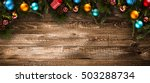 merry christmas frame with real ... | Shutterstock . vector #503288734