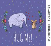 hug me card with elephant and... | Shutterstock .eps vector #503289496