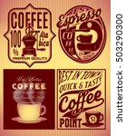set of coffee patterns with... | Shutterstock .eps vector #503290300