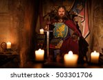 old medieval king on the throne ... | Shutterstock . vector #503301706