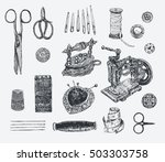 vintage sewing and tailor set.... | Shutterstock .eps vector #503303758