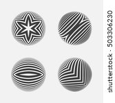 set of striped halftone spheres. | Shutterstock .eps vector #503306230