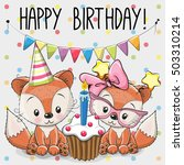 greeting card two cute cartoon... | Shutterstock .eps vector #503310214