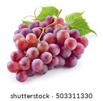 Ripe Red Grape With Leaves...