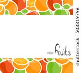 tasty apples and oranges with... | Shutterstock .eps vector #503319796