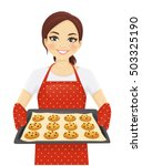 smiling woman holding baking... | Shutterstock .eps vector #503325190