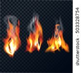 set of flames with smoke on a... | Shutterstock .eps vector #503328754