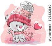 cute cartoon kitten in a... | Shutterstock .eps vector #503333860