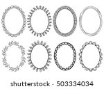 oval photo frames. doodle style.... | Shutterstock .eps vector #503334034