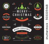 christmas labels and badges... | Shutterstock .eps vector #503335468