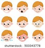 boy emotion faces cartoon.... | Shutterstock .eps vector #503343778