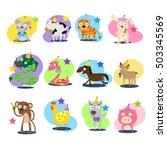 twelve animals in chinese zodiac   Shutterstock .eps vector #503345569