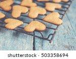 heart shape cookies on a blue... | Shutterstock . vector #503358694