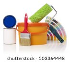 paint roller  paint bucket and... | Shutterstock . vector #503364448