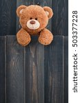 cute teddy bear with old wood...   Shutterstock . vector #503377228