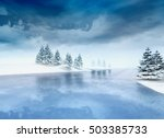 Frozen Lake With Trees And...
