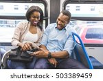 happy black couple travelling... | Shutterstock . vector #503389459