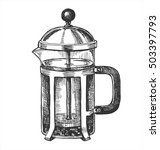 hand drawn french press for... | Shutterstock .eps vector #503397793