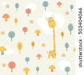 happy giraffe and trees... | Shutterstock .eps vector #503404066