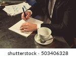 view of businessman hands   he...   Shutterstock . vector #503406328