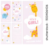it's a girl  baby shower and... | Shutterstock .eps vector #503406436