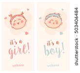 cute it's a boy and girl cards | Shutterstock .eps vector #503406484