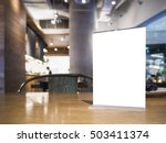 mock up menu frame on table... | Shutterstock . vector #503411374