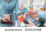 woman at the supermarket... | Shutterstock . vector #503419588