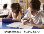 two kids working at their desks ... | Shutterstock . vector #503425870