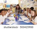 school teacher and class... | Shutterstock . vector #503425900