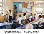 schoolgirl writing on flip... | Shutterstock . vector #503425954