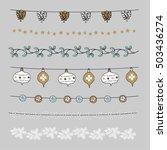 set of christmas borders ... | Shutterstock .eps vector #503436274
