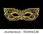golden carnival mask on the... | Shutterstock .eps vector #503446138