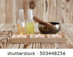 singing bowl on wooden... | Shutterstock . vector #503448256