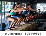 people stretching while... | Shutterstock . vector #503449999