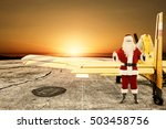 santa claus and yellow small... | Shutterstock . vector #503458756