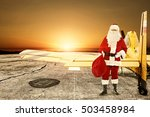 santa claus and yellow small... | Shutterstock . vector #503458984