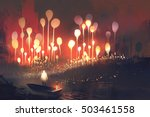 night scenery of fantasy forest ... | Shutterstock . vector #503461558