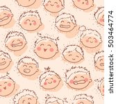 hand drawn cute child faces... | Shutterstock .eps vector #503464774
