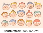 set of hand drawn baby faces... | Shutterstock .eps vector #503464894
