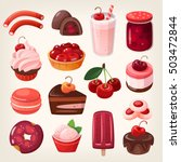 set of delicious fruit sweets... | Shutterstock .eps vector #503472844