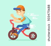 illustration of a boy riding a... | Shutterstock .eps vector #503475688