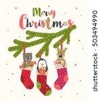 christmas greeting vector... | Shutterstock .eps vector #503494990