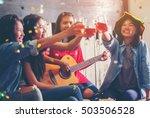 group of friends drinking... | Shutterstock . vector #503506528