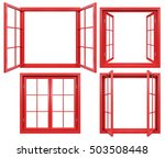 Collection Of Red Window Frame...
