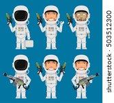 astronaut holding futuristic... | Shutterstock .eps vector #503512300