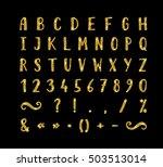 handwritten bold gold font with ... | Shutterstock . vector #503513014
