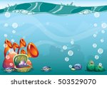 cartoon vector underwater... | Shutterstock .eps vector #503529070