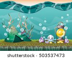cartoon vector underwater... | Shutterstock .eps vector #503537473