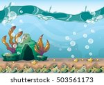 cartoon vector underwater... | Shutterstock .eps vector #503561173